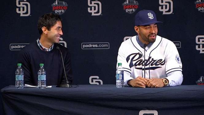A.J. Preller, left, is all smiles these days after bringing in players like Matt Kemp, right, as the Padres look to be relevant once more.