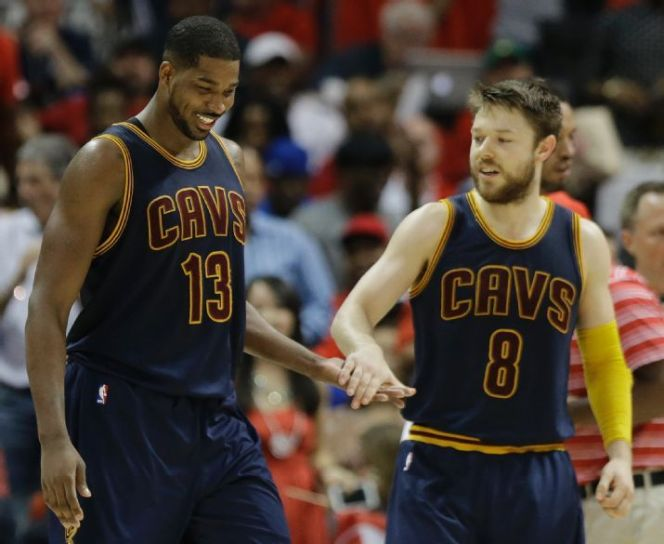 Tristan Thompson and Matthew Dellvedova represent part of the supporting cast LeBron James has long deserved in Cleveland. (AP Photo/David Goldman)