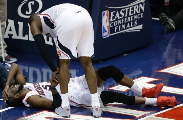 Atlanta Hawks' DeMarre Carroll suffered a knee injury that could not only impact the Eastern Conference Finals, but his career. (AP Photo/David Goldman)